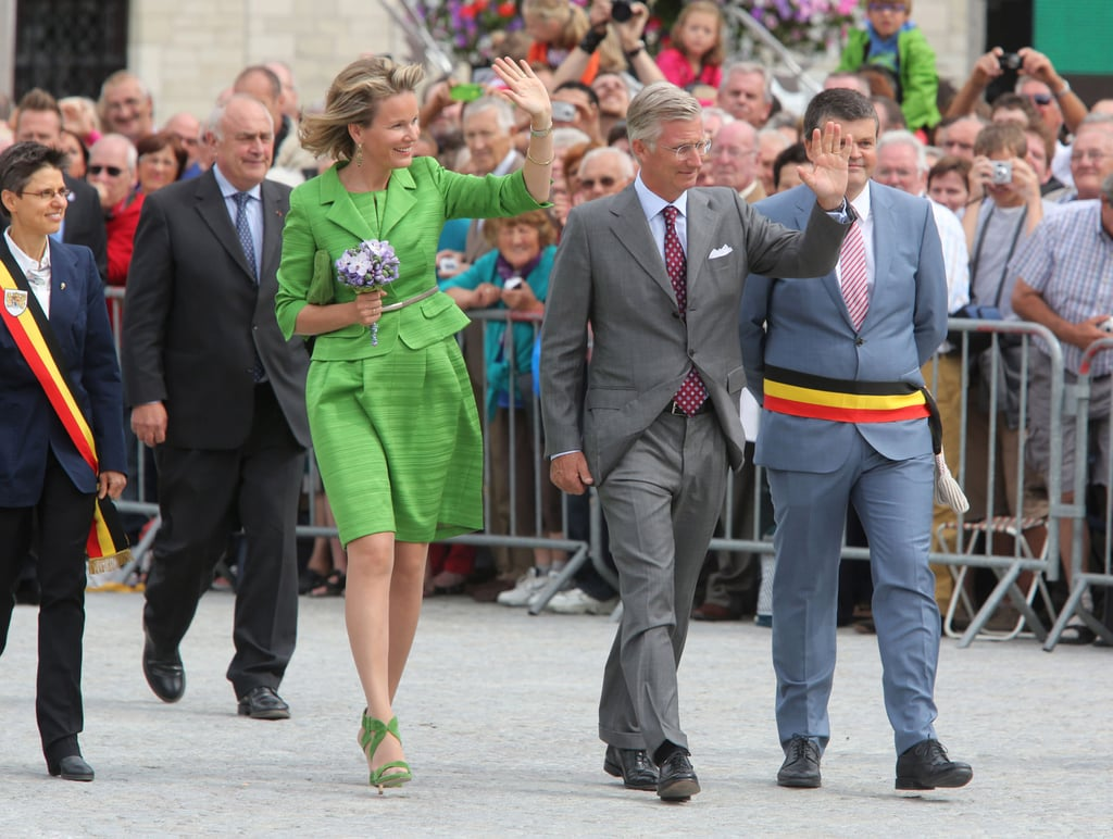 Queen Mathilde wearing Natan during the Hanswijk Cavalcade in 2013.
