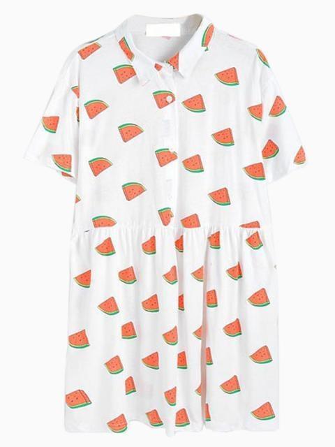 Choies Watermelon Pattern Shirt Dress