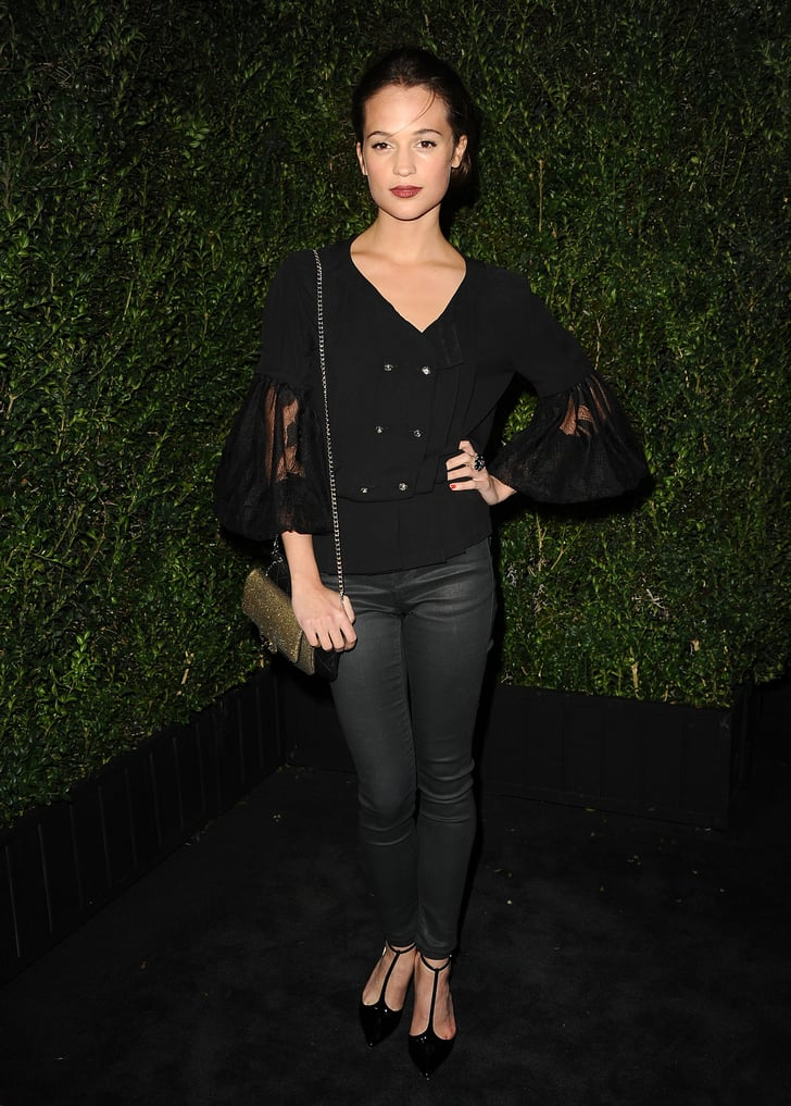 Alicia Vikander Wore A Black Blouse From Chanel S Spring