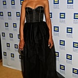 Kerry gave up color in lieu of a black bustier-style gown with a frothy tulle skirt at the 2013 Human Rights Campaign gala in LA.
