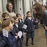 Kate chatted with children from a local school as she arrived to open a charity shop in the UK in March 2016.