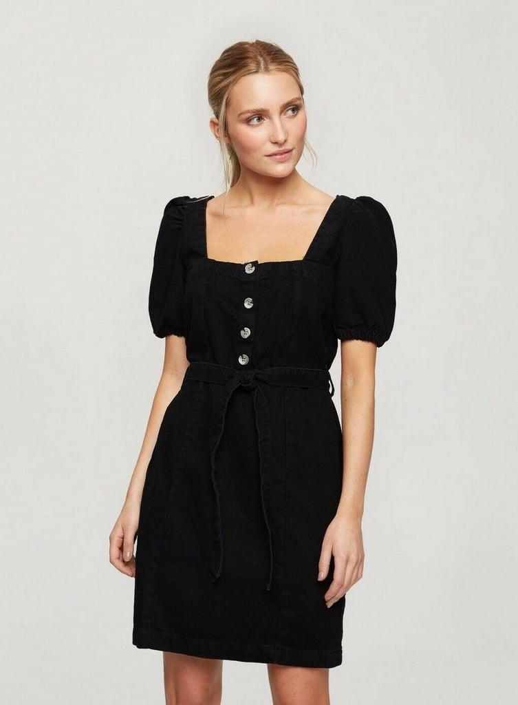 Miss Selfridge Black Puff Sleeve Denim Dress