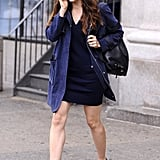 Jessica Biel stopped at an office building in SoHo.