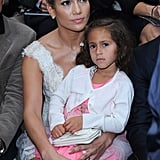 Jennifer Lopez had Emme on her lap during Chanel's show for Paris Fashion Week.