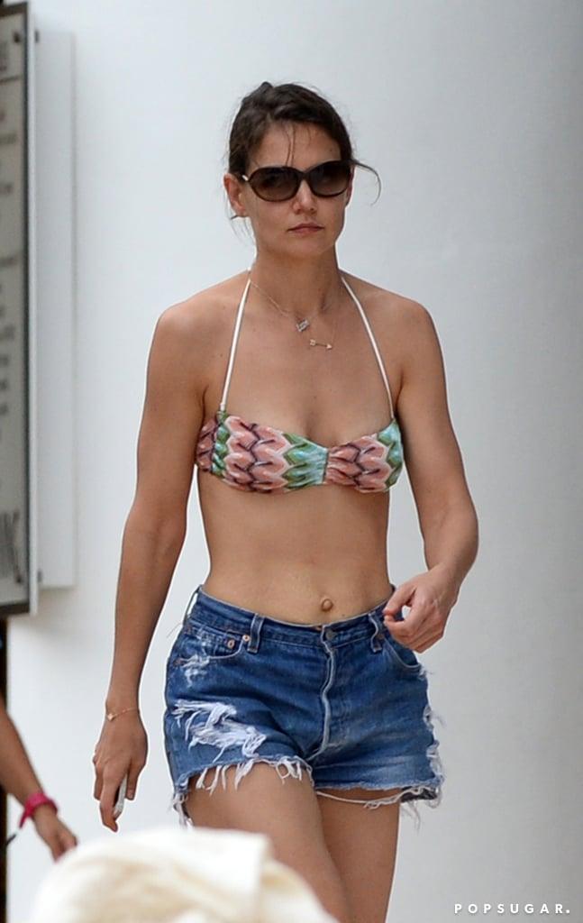 Katie wore jean shorts.