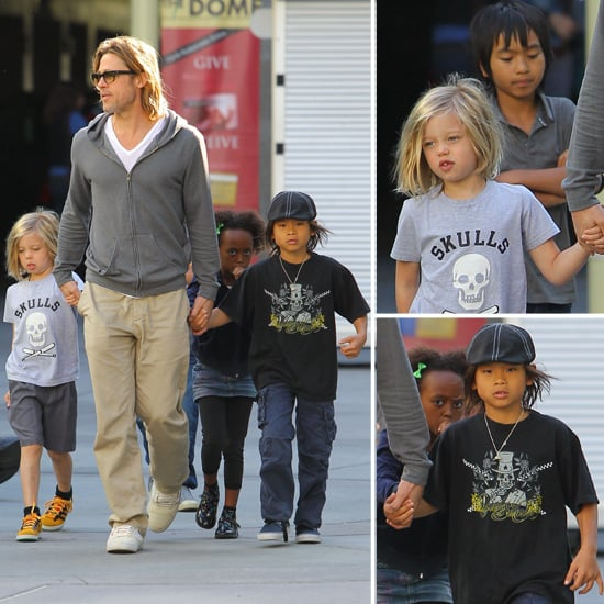 Brad and His Four Oldest Kids Just Miss Jennifer Aniston at the Movies!