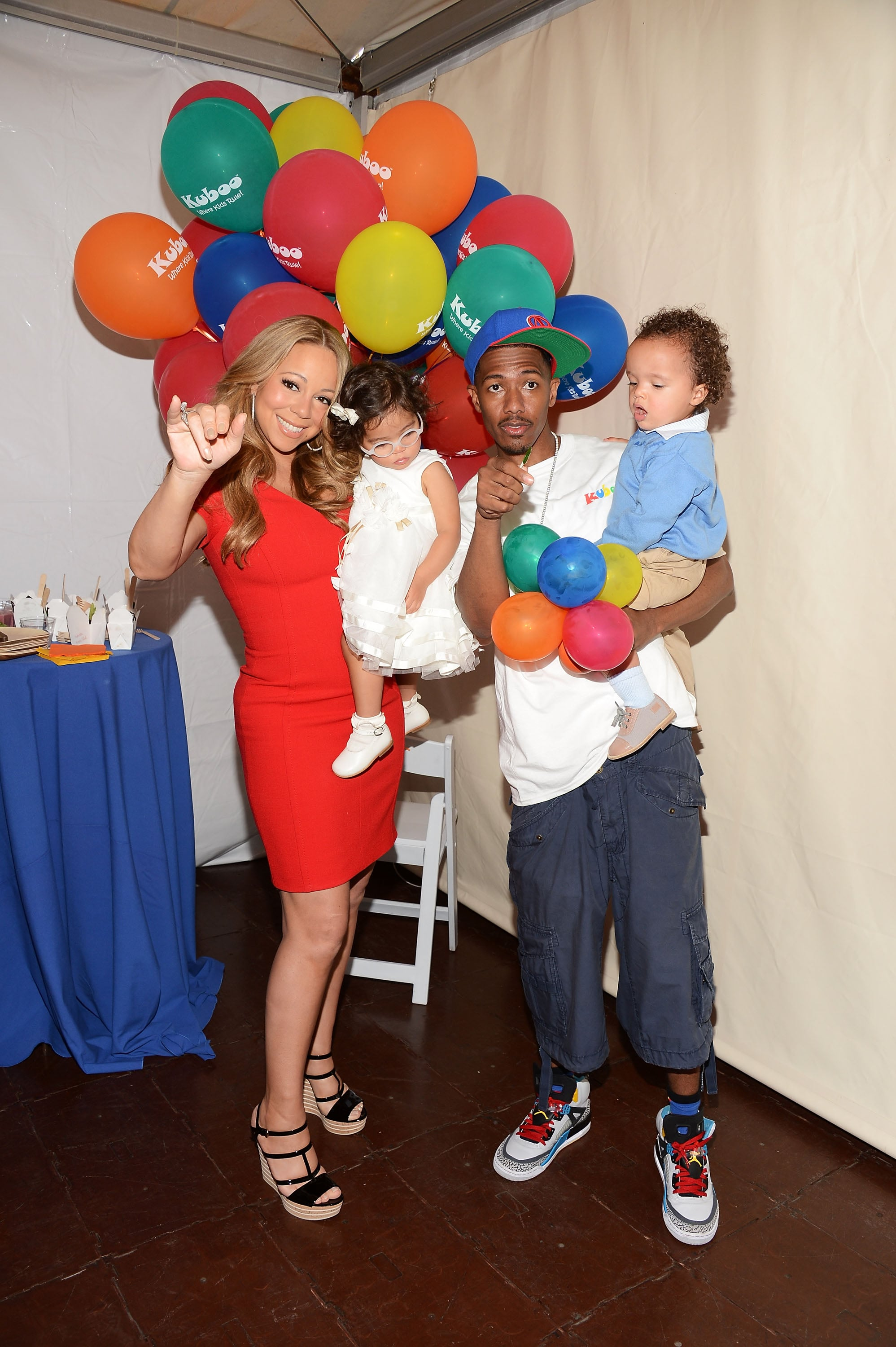 Nick Cannon and Mariah Carey hosted a family day in Santa Monica with their twins Moroccan and Monroe.