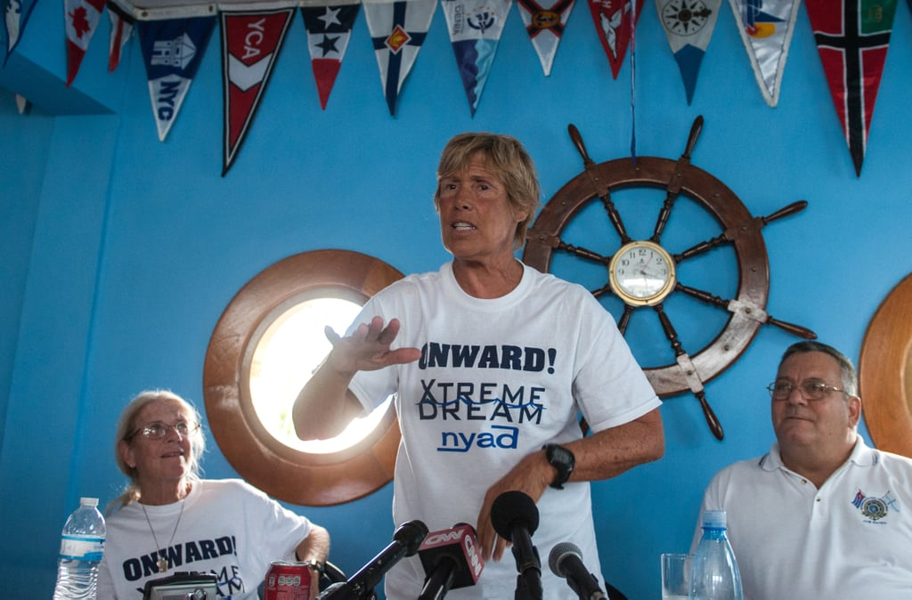 Diana Nyad participated in a press conference before beginning her swim.