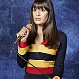 For Rachel's season three portrait, she's ditched the cardigans and the sweater vests — but, yes, it's another sweater.