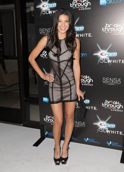 Jessica Szohr's piped and sheer detail dress is eye catching in the best way. Graphic and gorgeous!