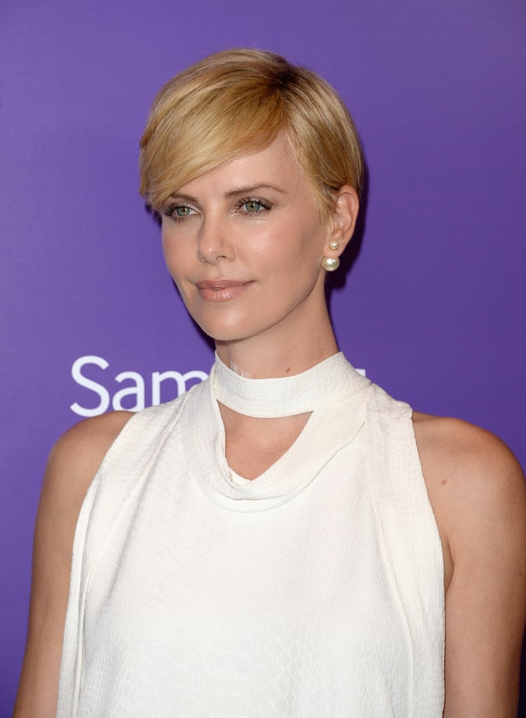 Charlize Theron showed off her grown-out pixie and a sexy, smoky eye.