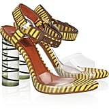 Missoni's tribal-cool heels are too hot to ignore.  Missoni Knitted and Perspex Sandals ($1,105)