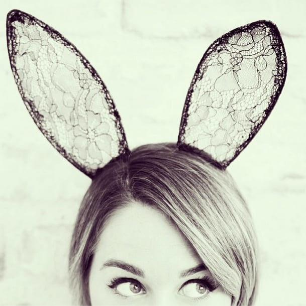 Lauren Conrad gave us a cute sneak peek at her Halloween costume with her signature winged eyeliner and lacy bunny ears. Source: Instagram user laurenconrad