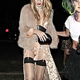 Rosie Huntington-Whiteley channeled a little bit of everything with this getup. She's got that retro geek vibe with a mix of boudoir and Frida Kahlo, too.