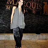 Angie Harmon took a risk by pairing silk harem pants with a printed halter top — and it worked!