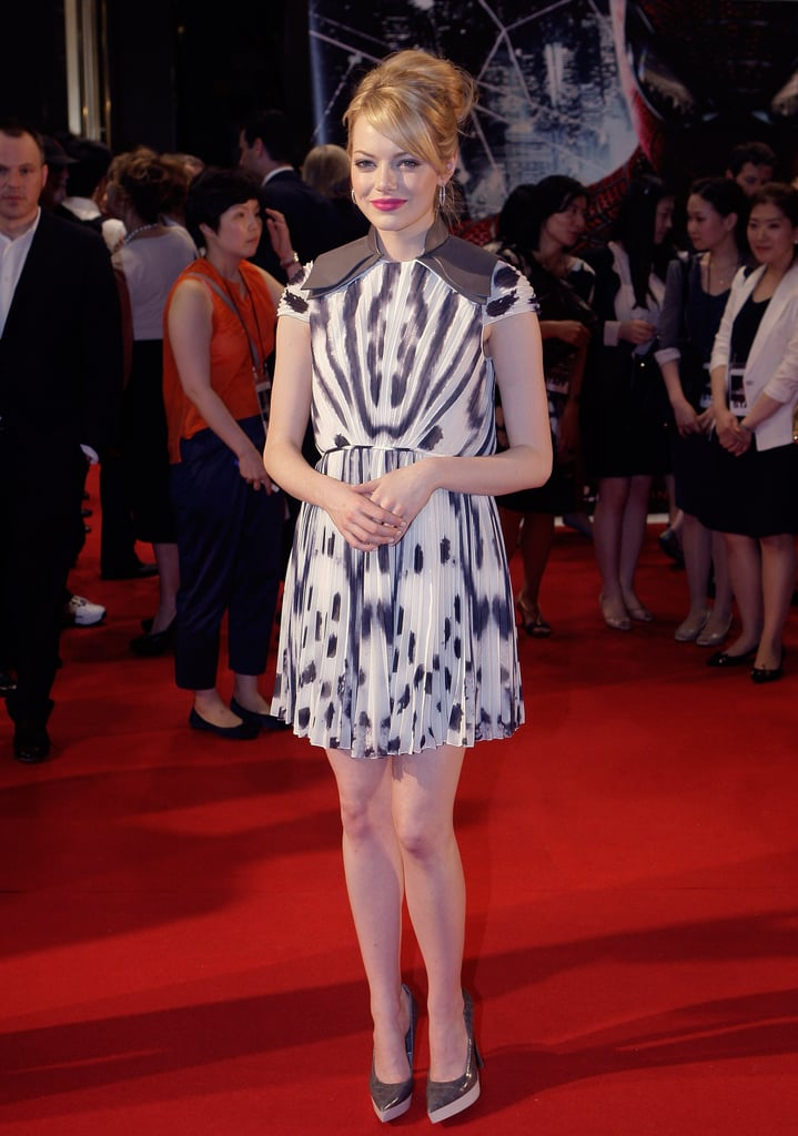 Emma sported a printed grey and white Fendi chiffon sheath with Stella McCartney pumps at the South Korea premiere of The Amazing Spider-Man.
