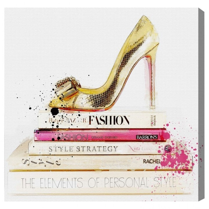 Oliver Gal Gold Shoe and Fashion Books Canvas  ($199)