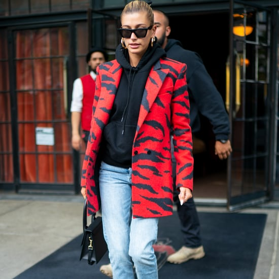 Hailey Baldwin Red Animal Print Blazer and Black Hoodie