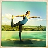 Rosie Huntington-Whiteley did some morning yoga. Source: Instagram user rosiehw