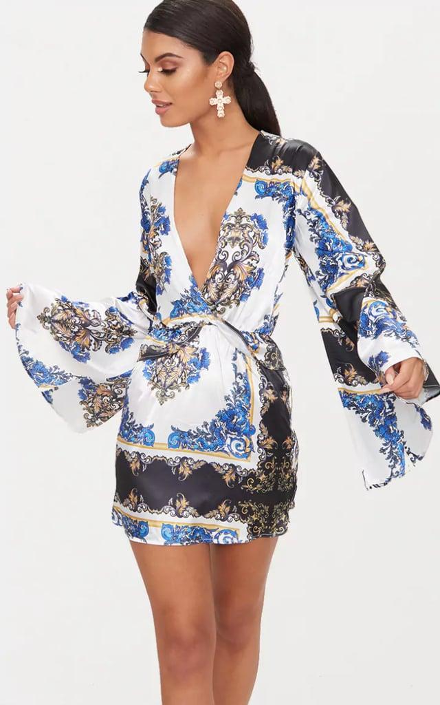 Lilac Satin Scarf Print Kimono Sleeve Plunge Shift Dress Pretty Little Thing Cheap Sale Cheap Eastbay Cheap Price Visit Cheap Eastbay 6cQFbz4a