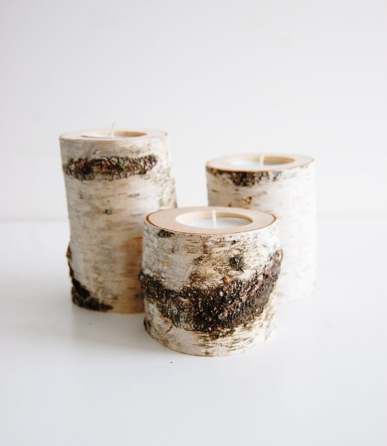 Wooden Tree Branch Candleholders
