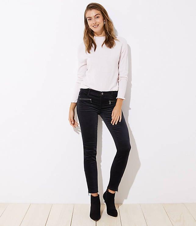 Velvet Ankle Zip Skinny Jeans