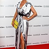 Tess Daly accessorised her Carlos Miele dress with yellow shoes and clutch.