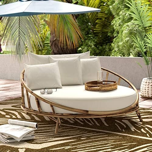 Zew Bamboo Round Daybed Outdoor Indoor Large Accent Sofa Chair