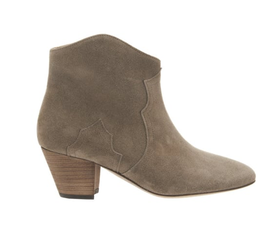 They haven't become the bootie of choice in the celebrity style-setting world without good reason. Like Étoile Isabel Marant Dicker boots ($600) with just about everything — fingers crossed she makes them a little more accessible with H&M.