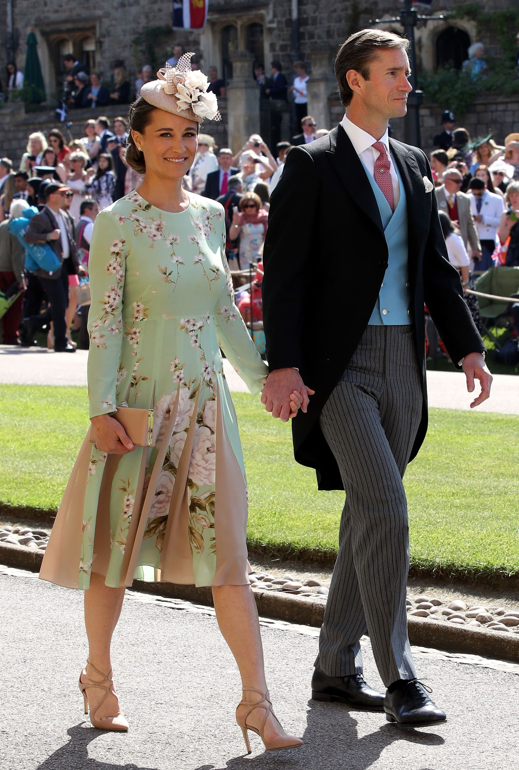 Pippa Middleton and James Matthews arrive for the wedding ceremony of Britain's Prince Harry, Duke of Sussex and US actress Meghan Markle at St George's Chapel, Windsor Castle, in Windsor, on May 19, 2018. (Photo by Chris Radburn / POOL / AFP)        (Photo credit should read CHRIS RADBURN/AFP via Getty Images)