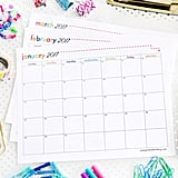 Color coded 2017 free printable calendars popsugar for Color coded calendar template