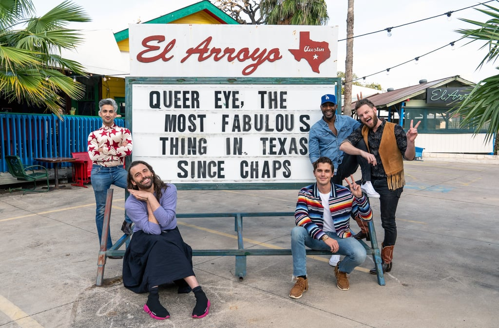 """Queer Eye's fifth season hasn't even premiered yet, and Netflix has already renewed the show for a sixth installment. Yes, we'll be getting even more life-changing advice from Antoni Porowski (Food & Wine), Bobby Berk (Interior Design), Jonathan Van Ness (Grooming), Karamo Brown (Culture), and Tan France (Fashion).  This time around, the Fab Five will help transform people's lives in Austin, TX. On March 11, the show confirmed the news on Instagram with a gallery of photos that feature the quintet posing in front of the El Arroyo restaurant sign. """"Grab a Texas-sized box of tissues y'all because the Fab 5 just arrived in the Lone Star State to film Queer Eye Season 6! 🤠🌵(oh and P.S. Queer Eye Season 5 is coming real soon✨),"""" the caption said. We're already looking forward to the Tex-Mex recipes! They spent the first four seasons in Georgia and Missouri before flying overseas in a separate special, Queer Eye: We're in Japan! For the fifth chapter of their escapades, they'll be in Philadelphia. We still don't have official release dates for seasons five or six, but the former is expected to arrive this year. Fingers crossed we won't have to wait long for the Texas-based episodes. In the meantime, check out the promo photos ahead!      Related:                                                                                                           Here Are Our Favorite Queer Eye Episodes of All Time — Get Your Tissues Ready"""