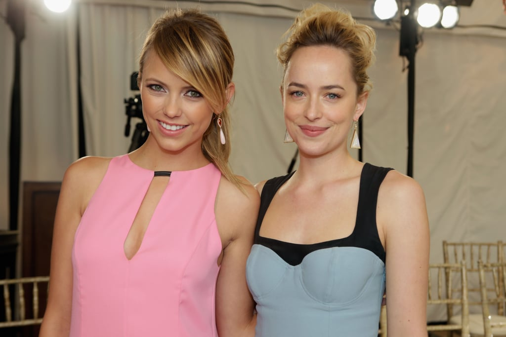 Riley Voelkel matched her pink lipstick to her dress, while Dakota Johnson opted for a ladylike updo.  To achieve Dakota's style, stylist Jorge Serrano of the Chris McMillan Salon prepped the star's hair with Living Proof Prime Style Extender ($20) on damp hair, followed by Full Thickening Mousse ($26) at the roots for body. After blowing her hair out, he used a curling iron to form waves and tossed the slightly messy style into a bun.