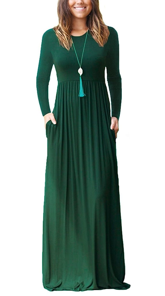 afd050927e21 Grecerelle Women's Long Sleeve Loose Plain Maxi Dress | Best Modest ...