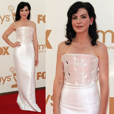 Pictures of Julianna Margulies in Armani Prive gown on the red carpet at the 2011 Emmy Awards