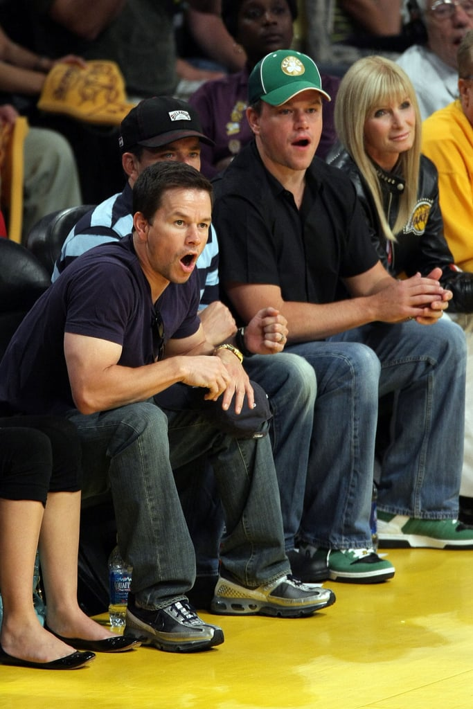 Things got serious for Mark Wahlberg and Matt Damon as they watched their hometown team, the Boston Celtics, play in the NBA Finals in June 2008.