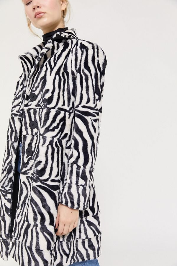 The East Order Zebra Print Faux Fur Coat