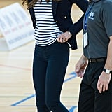 Kate Middleton sported a striped shirt under a blazer for her Sportaid Athlete Workshop visit.
