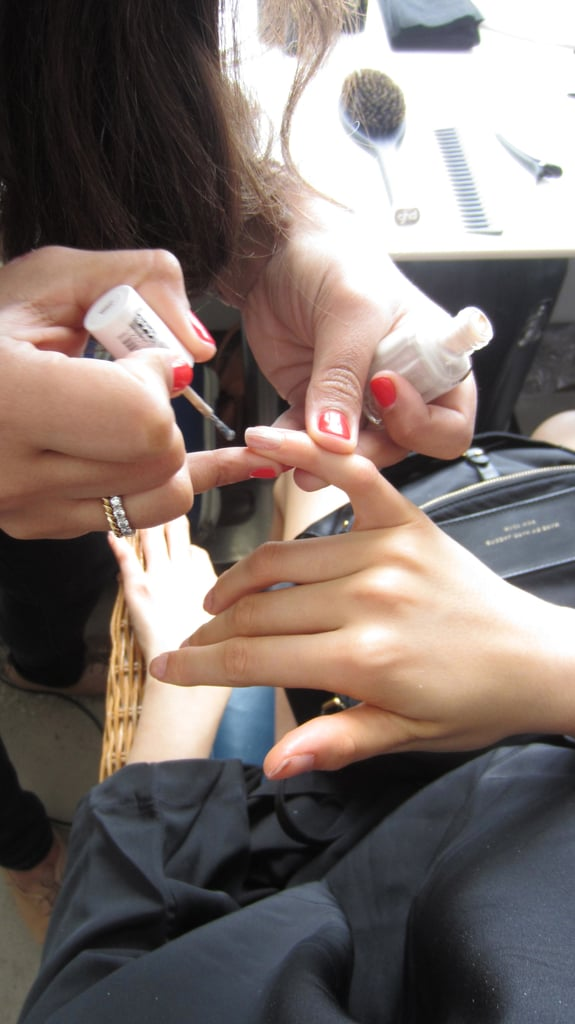 """Today we are using Essie polish in Sand Tropez for a clean and polished, ultra modern look. The shade is like an extention of skin,"" says Essie's nail director, Ali Magliveras."