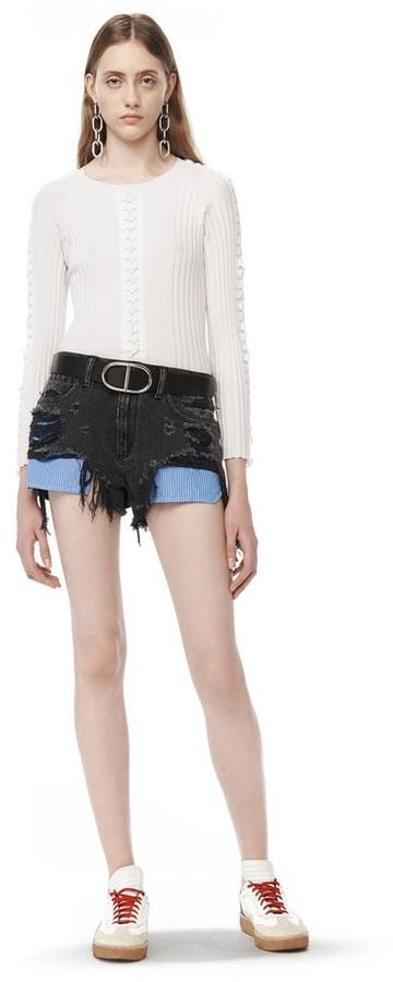 Alexander Wang Distressed Denim Shorts With Exposed Pocket ($350)