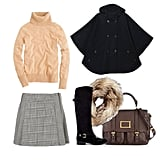 Give the school-girl vibe a polished twist with a camel-hued turtleneck and understated plaid. Add some luxe with a faux fur collar, a rich leather tote, and a pair of quintessential riding boots — then top it all off with your cape. Get the look:  Sessun Reina Hooded Cape ($340) J.Crew Dream Turtleneck ($75) Topshop Prince of Wales Kilt ($64) Marc by Marc Jacobs Werdie Textured-Leather Messenger Bag ($500) Zara Riding Boot ($80) Juicy Couture Faux Fur Infinity Scarf ($88)