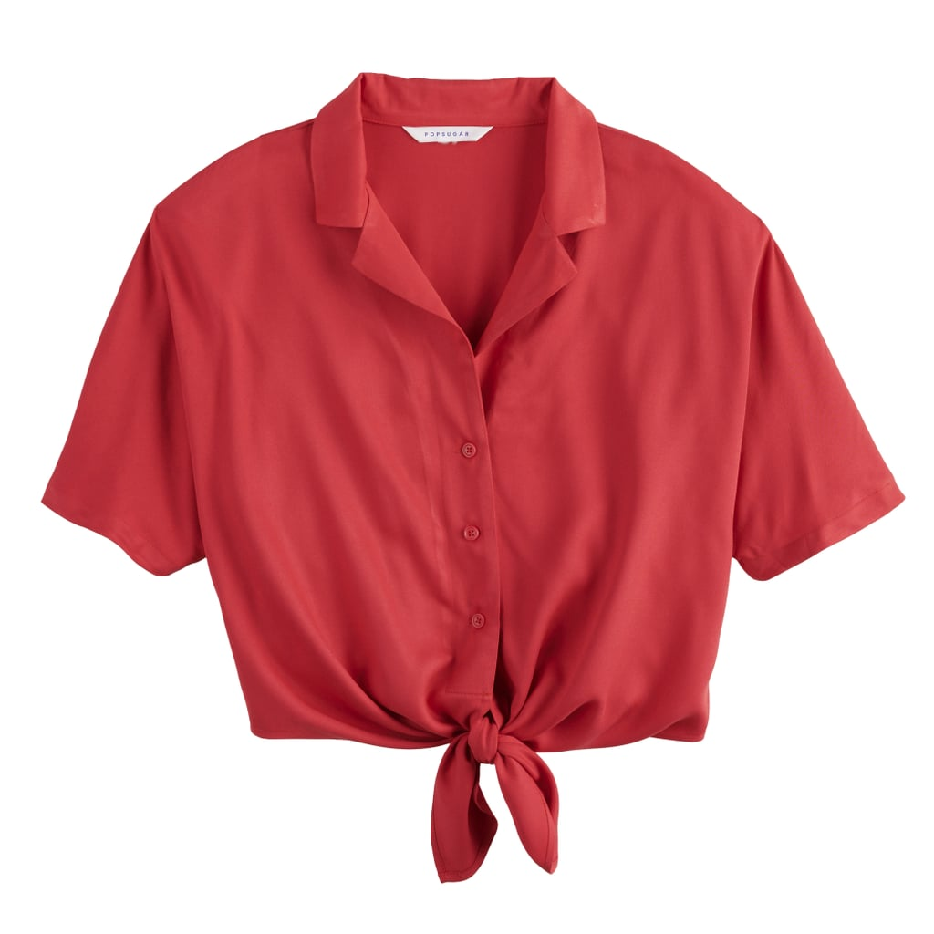 POPSUGAR Knot Front Camp Shirt