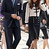 Kate Middleton wears Alexander McQueen to an event at the Summerfield Community Center.