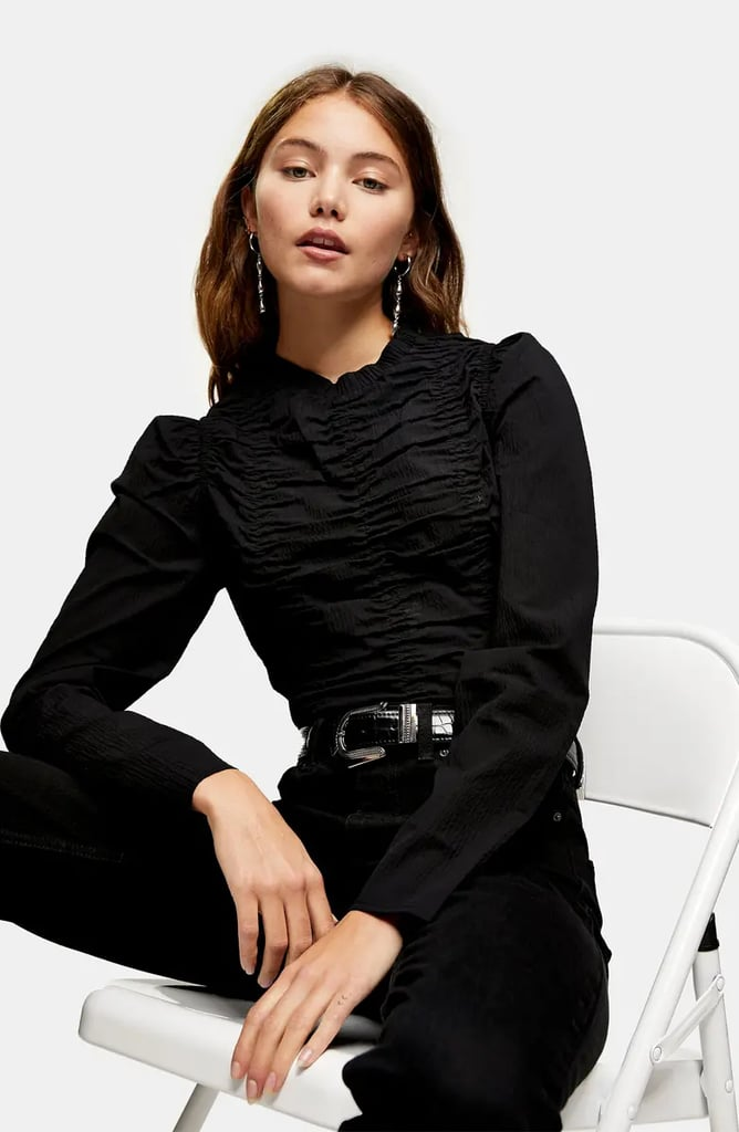 Topshop Ruched Long Sleeve Top