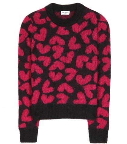 Saint Laurent Heart-Intarsia Cropped Mohair-Blend Sweater