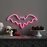 Faux Neon Purple Bat Silhouette
