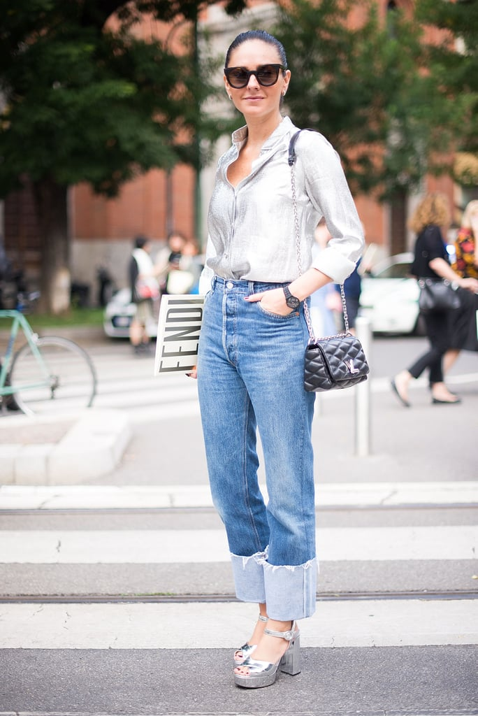 With a bold cuff and an understated button-down