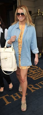 Jessica Simpson Wears Yellow Tucker Dress in New York
