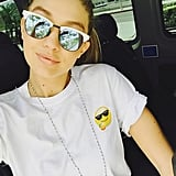 Gigi Hadid Had a Casual Ride to Coachella in Mirrored Sunglasses