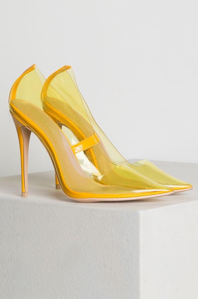 Azalea Wang PVC Perplex Pointed Toe High Stilettos